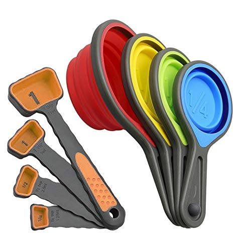 iFCOW Juego de cucharas y tazas de medición plegables de silicona de 8 piezas