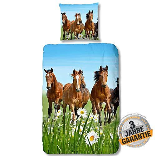 Aminata Kids Bettwäsche Pferdemotiv 135 x 200 Baumwolle Kinder Mädchen - Kinderbettwäsche mit Reißverschluss, Pferde-Kinder-Bettwäsche-Set, Pferdebettwäsche-Motiv, braun & grün - Pferd, Pony