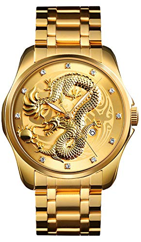 Men Boy Luxury Gold Chinese Dragon Carved Dial Diamond Quartz Watch Casual Waterproof Sport Stainless Steel Wristwatch (Gold Gold)