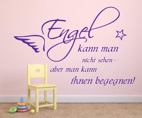 Wandtattoo fürs Schlafzimmer Kinderzimmer 68148-58x38 cm, Zitate ~ Engel kann man nicht sehen, Flügel ~ Wandaufkleber Aufkleber für die Wand, Tapetensticker aus Markenfolie, 32 Farben wählbar