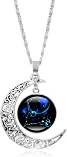 2021 Fashion 12 Constellation Necklace Crescent Pendant Galaxy Zodiac Astrology Charm Summer Necklace Suitable for Lady Gi...