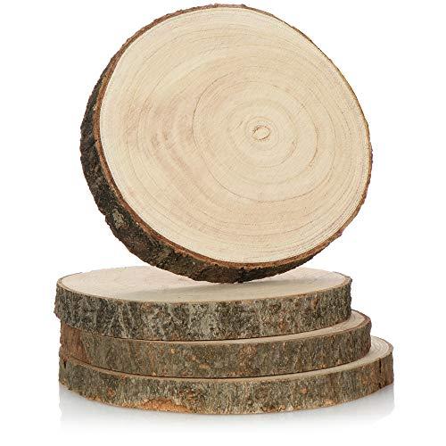 com-four® 4X Untersetzer aus Naturholz - Glasuntersetzer - Untersetzer für Gläser - Holzscheiben zum Basteln - Ø ca. 17,5-21 cm