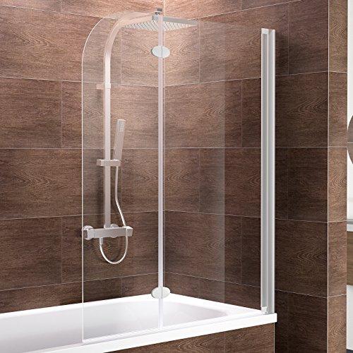 Schulte Badewannenfaltwand 2-teilig Komfort zum Kleben, 112 x 140 cm, 5 mm Sicherheitsglas (ESG) Klar hell, Alu-Natur, Duschabtrennung für Badewanne, Duschwand mit Teilrahmung