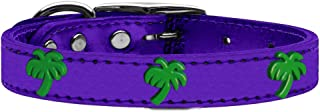 Mirage Pet Products 83-108 PrM22 Green Palm Tree Widget Genuine Metallic Leather Dog Collar, Size 22, Purple