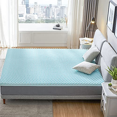 RECCI 2.5-Inch Egg Crate California King Mattress Topper, Pressure Relief Mattress Topper for Back Pain, Gel Infused Mattress Topper, Cooling & Breathable, CertiPUR-US Certified, California King Size