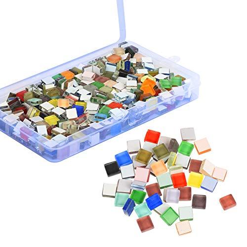 BELIOF 450 Pcs Azulejos de Mosaico de Colores Piezas de Mosaico Cuadrado Cristal para Manualidades Azulejos de Vidrio Multicolores para Bricolaje Decoración Hecha a Mano del Hogar Paredes Marcos