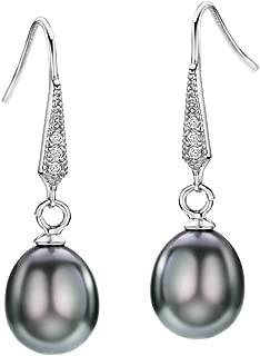 Freshwater Pearl Earrings Dangle Drop Sterling Silver Earrings Diamond Accented Fine Jewelry for Women