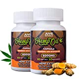 Juve Naturals (2 Pack) Hemp Oil Capsule with Turmeric and Bioperine - Fast Absorbing- for Pain, Stress, Sleep and Anxiety Relief - Boost Mood and Immunity - High in Vitamin C - 120 Capsules