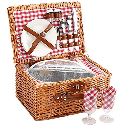 Home Innovation - Cesta de mimbre para 2 personas, cesta de mimbre con compartimento aislante, hecha a mano para 2 personas, ideal para picnic, acampada