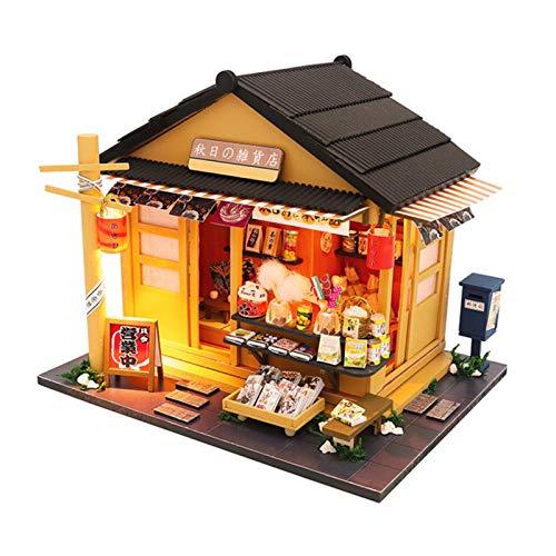 Qians Cabina ensamblada de Bricolaje, Hermosa casa de muñecas de Estilo japonés de Madera, Modelo de Tienda de comestibles de Regalo de Arte Mini Pretty