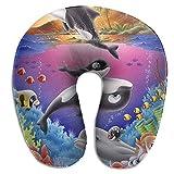 Cojín de cuello de barbilla de espuma de memoria Soporte de dibujos animados Ballena de delfín Peces tropicales Almohada de cuello subacuática colorida, Almohada de viaje premium para coche wi