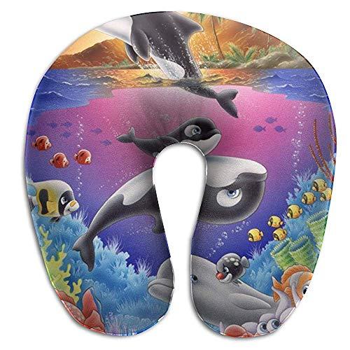 NAN TIAO Mousse à mémoire Menton Cou Coussin Soutien Dessin animé Dauphin Baleine Poissons tropicaux coloré sous l'eau Cou Oreiller, Premium Voiture Voyage Oreiller wi