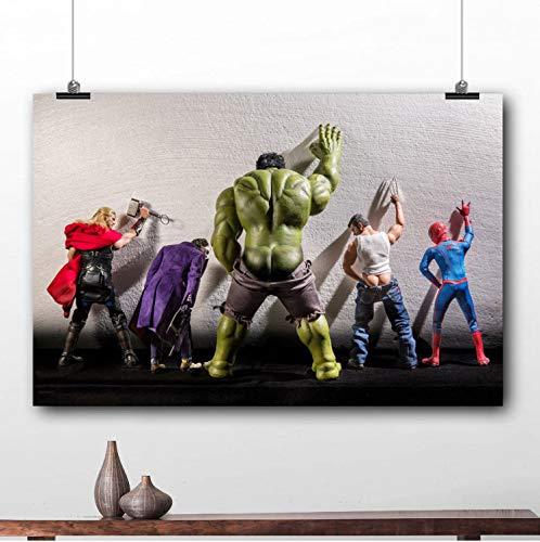 taoyuemaoyi Gerahmte Malerei Hulk Thor Joker Spider Man Marvel Superhelden Poster Leinwanddrucke Wandkunst 40 * 60Cm