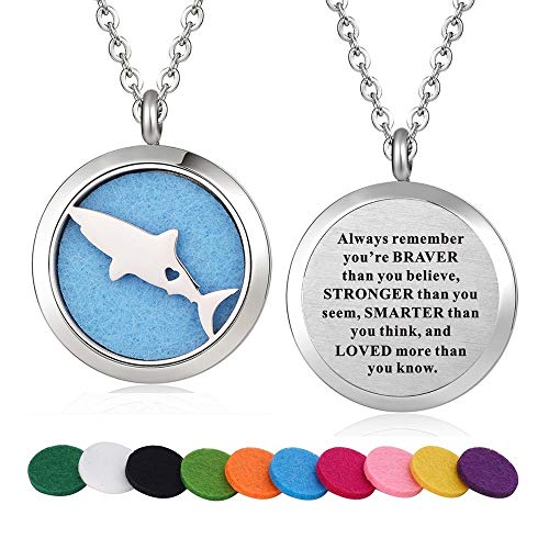 Stainless Steel Shark Fish Aroma Therapy Aromatherapy Essential Oil Diffuser Necklace Locket Pendant (Style 26)
