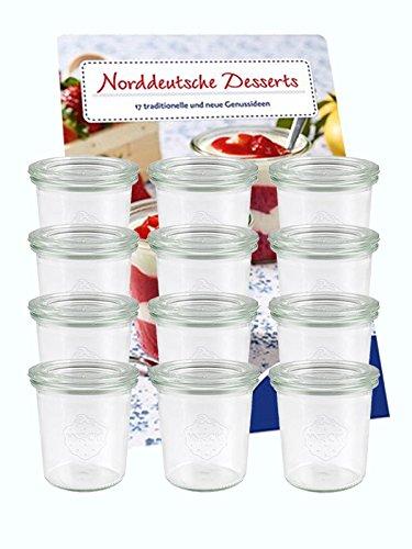 Juego de 12tarros de 160ml con 12Tapa de cristal Tarros Desser vasos