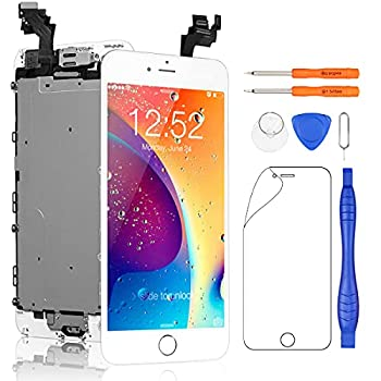 Yodoit for iPhone 6 Plus Screen Replacement Touch LCD Display Digitizer Glass Full Assembly Camera Home Button Proximity Sensor Earpiece Speaker + Tool Kit 5.5 inches  White