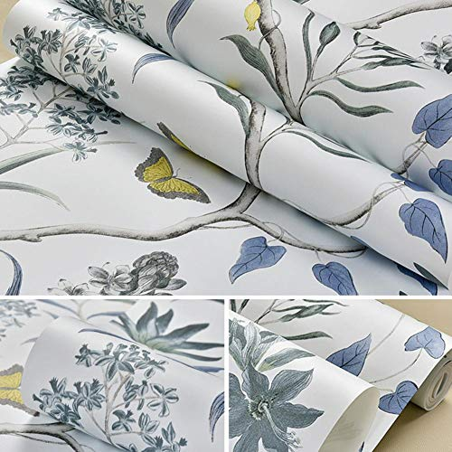 Presentimer Rustikale Vintage Floral Tapeten Pastoralen Stil Blumen und Vögel Grüne Vlies Tapeten Schlafzimmer Wohnzimmer Hintergrund Tapeten Art Deco Blau