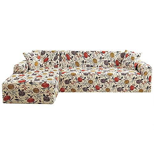WXQY Juego de Funda de sofá Bohemia, Funda de sofá elástica para Sala de Estar, sofá de Cubo para Mascotas, Funda de sofá de Esquina en Forma de L, A2, 2 plazas