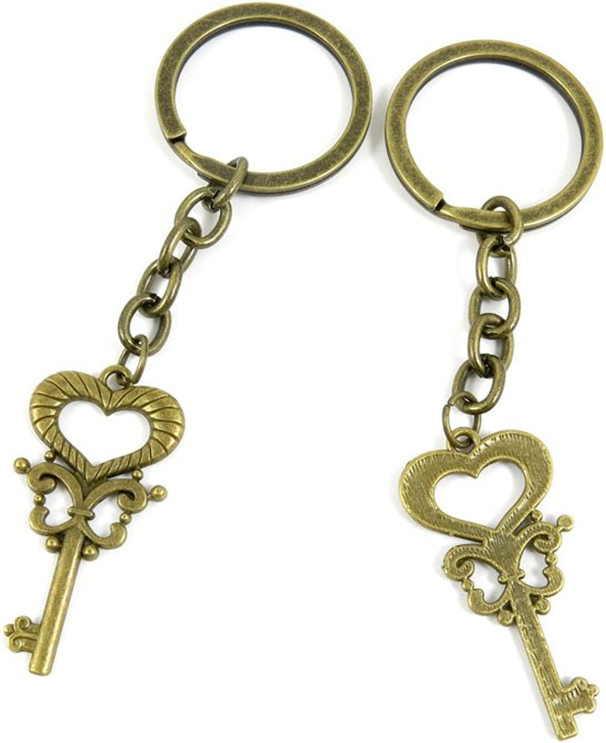 100 PCS Keyrings Keychains Key Ring Chains Tags Jewelry Findings Clasps Buckles Supplies N3NR1 Heart Key