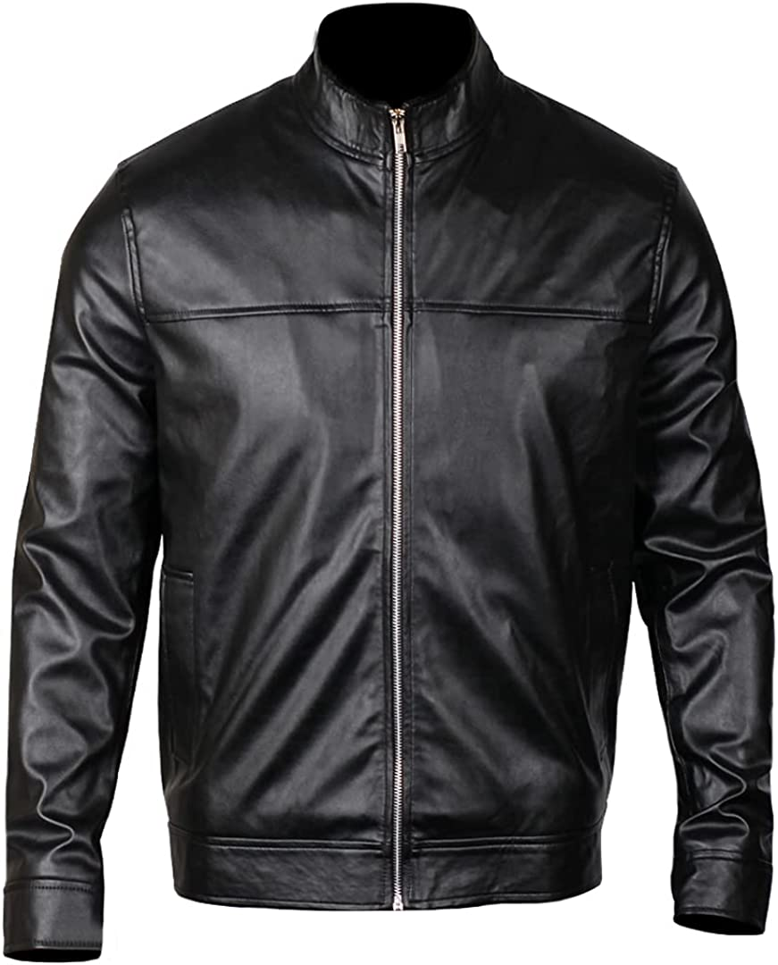 EASTIFIED Leather Jacket for Men Lightweight Slim Biker Jacket Stand Collar Motorcycle Racer Jacket Black