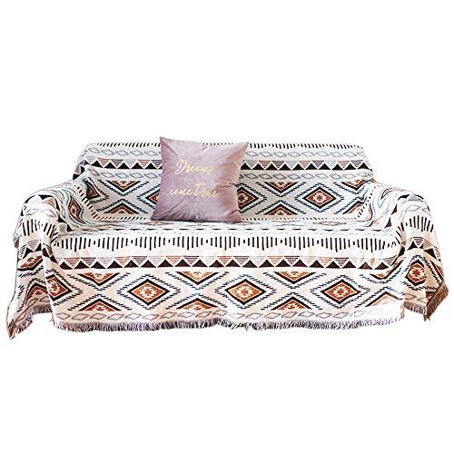 DANDAR Funda de sofá cubierta de polvo para sofá, sala de estar, estilo bohemio, sofá y sillón en ambos lados de diferentes patrones geométricos, alfombrilla de picnic de 90 x 150 cm