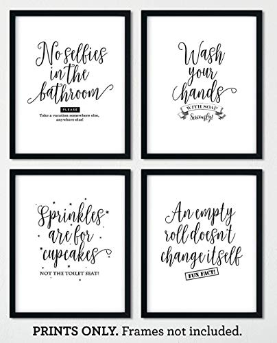 Bathroom Print Set of 4, 8x10 Unframed Art Prints, Funny Bathroom Wall Decor, Art for Guest Half Bath, Potty Humor, Makes a Great Housewarming Gift