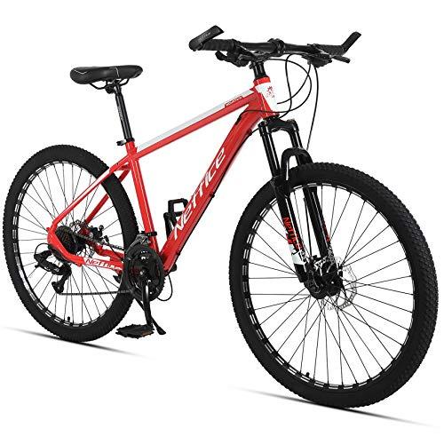 Neffice 27.5' Mountain Bike Mens 24 Speed All-Terrain Mountain Bike, High-Strength Aluminum Frame, Trigger Shift (North American Begonia Red)
