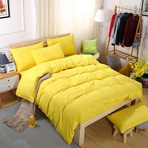 Funda de edredón amarilla cálida de algodón