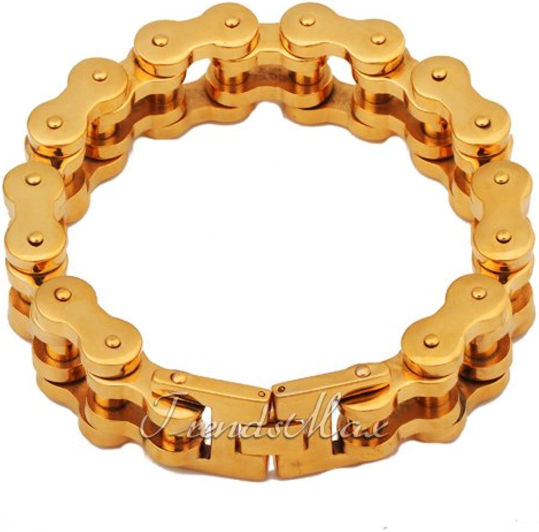 0b49177f8d594 23MM gold Tone Steel bracelet Biker Motorcycle Chain Bracelet Heavy ...