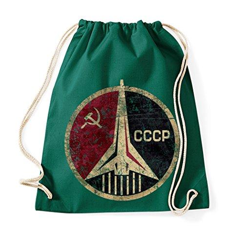trvppy algodón Turn Bolsa Bolsa de deporte Modelo CCCP en diferentes colores, color verde botella, tamaño Talla única