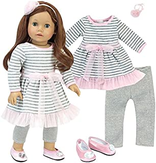 Complete 18 Inch Doll Outfit | 4 Pc Set | Gray and White Striped Dress with Pink Hem, Flower Hair Accessory, Gray Leggings...