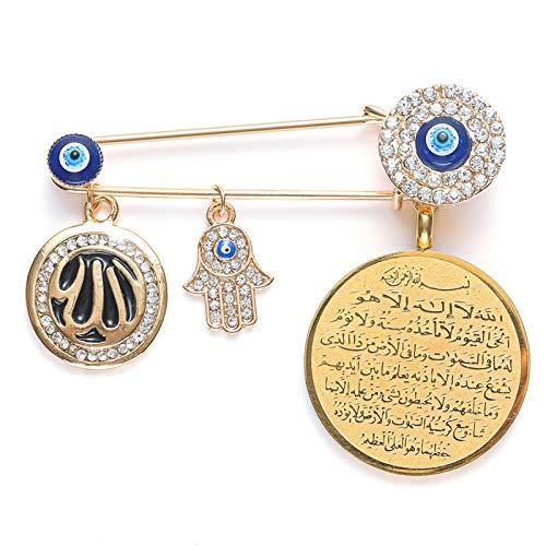 Broche musulmán Islam Alá con colgante de mano turca del mal de ojo de Fátima, broche de metal para bebé, alfileres (color de metal: oro, tamaño: normal)