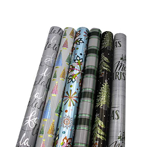 "Bundle of 6 Rolls of 30"" Premium Foil Merry Christmas Holiday Contemporary Gift-wrap Wrapping Paper, Brilliant Snow Flakes, Tree, Plaid"