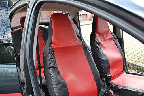 Complete set op maat gemaakte stoelhoezen Hoogwaardige hoezen rood/zwart kunstleer nieuw passend