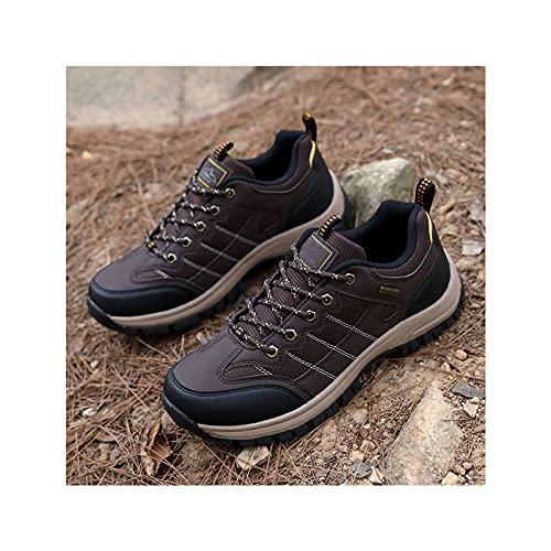 Hombres Senderismo Zapatos de Bicicleta de Montaña,Escalada Al Aire Libre Trekking Calzado Deportivo,Zapatillas de Deporte con Forro de Algodón,Zapatos Informales de Malla PU para Hombres,Brown-45