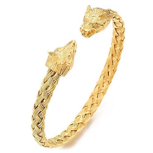 COOLSTEELANDBEYOND Brazalete de Cabeza de Lobo Hombre, Trenzado Cable de Acero Inoxidable, Color Oro, Ajustable