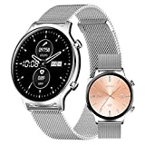 HQPCAHL Reloj Inteligente Smartwatch Impermeable IP67 con Monitoreo De Presión Arterial para Hombre Mujer Pulsera De Actividad Inteligente con Reloj De Fitness con Podómetro para iOS Y Android,Plata