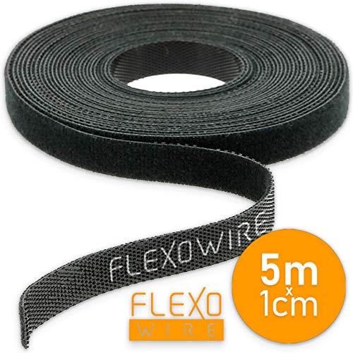 Flexowire Klett-Kabelbinder 10mm x 5 m frei zuschneidbar - wiederverwendbar Klebeband Kabelmanager (5 m)