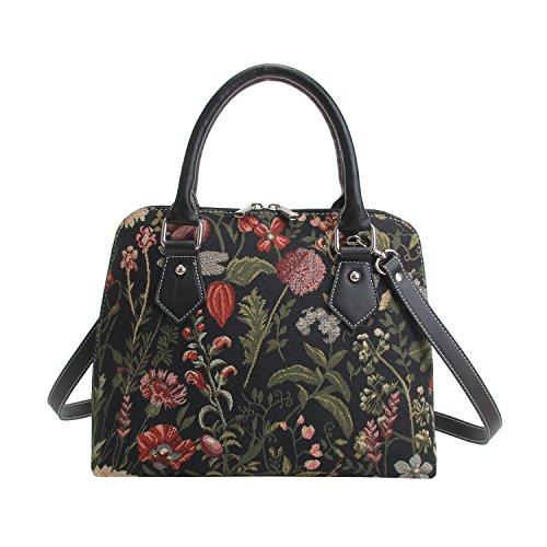 Signare Tapisserie Handtaschen Damen, Umhängetasche damen schultertasche damen und Umhängetaschen damen mit Garten Designs (Morgengarten Schwarz)
