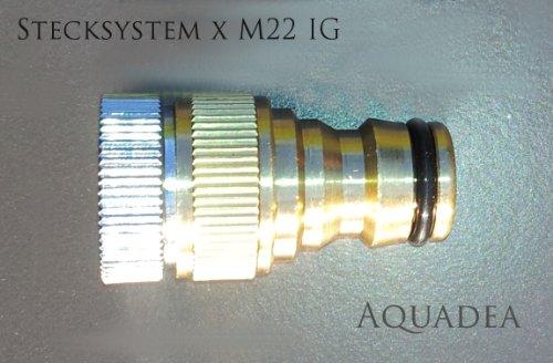 Gardena Steck System kompatibeler Adapter mit M22 Innengewinde IG stabile, schöne Metall Ausführung zum Anschluß eines Gartenschlauchs an einen Wasserhahn mit Perlstrahler Außengewinde M22 - für Indoor-Wasserhähne
