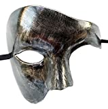 Coolwife Masquerade Mask Vintage Phantom of The Opera One Eyed Half Face Costume (Antique Sliver Black)