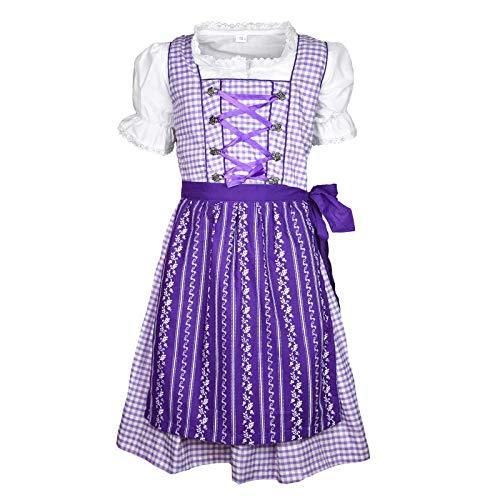 MS-Trachten Kinder Dirndl Trachtenkleid Klara 3 teilig (lilakariert, 164)