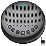 Conference Speaker – Luna Speakerphone Updated AI Noise Reduction Algorithm Featured, Daisy Chain for up to 12 People, 360° Voice Pickup Conference Speakerphone w/Bluetooth Dongle for Home Office