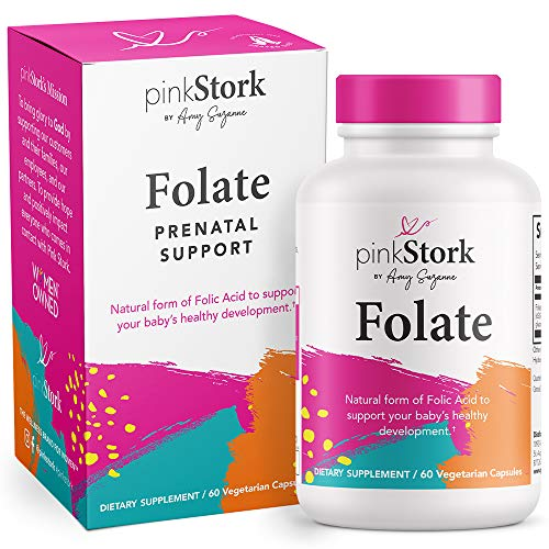 Pink Stork Folate: Methyl Folate - MTHFR Acid, Natural Form of Folic Acid for Pregnancy, Formulated for Mom + Baby, Women-Owned, 60 Capsules