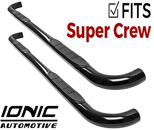 "Ionic 3"" Black (Fits) 1999-2016 Ford Super Duty F250 F350 SuperCrew Cab Only Nerf Bars Side Steps (212460)"