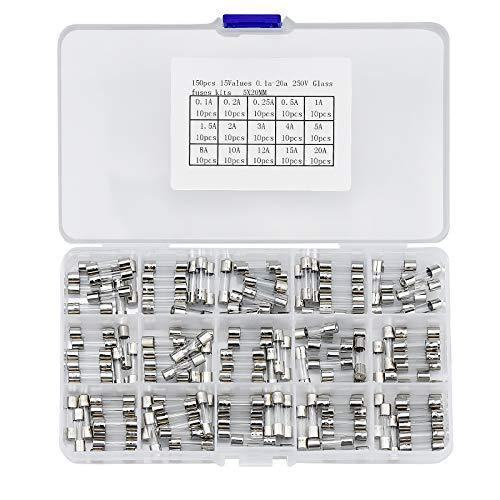 150 Stück Glas Sicherungen Sortiment Glassicherung Sicherungen Assortierte Kit 250V Glasröhre Sicherungen 0.1A-20A mit Aufbewahrungsbox Sortimentskiste