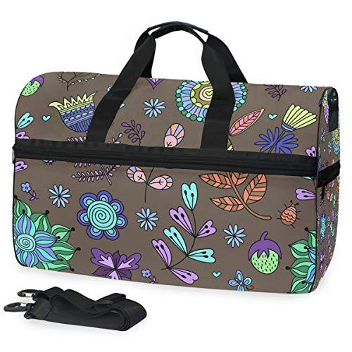 Montoj Reisetasche in fluoreszierender Farbe, Pflanzen-Motiv, übergroße Leinwand