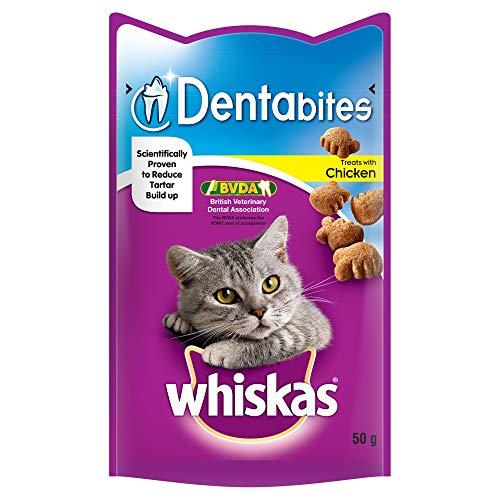 Whiskas Dentabites, Dental Care Tasty Cat Treats with Chicken, 8 x 50 g