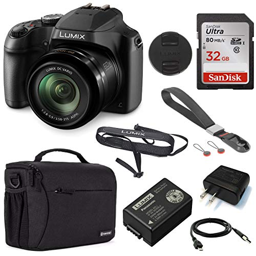 Panasonic Lumix DC-FZ80 4K Digital Camera, 18.1 Megapixel, 60x Zoom 20-1200mm Lens Essential Bundle with Peak Design Wrist Strap, Case, 32GB SD Card