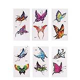 Milisten 6 Fogli Adesivi per Tatuaggi Fiore Farfalla 3D Impermeabili Body Art Tatuaggi Temporanei per Mano da Polso Alla Caviglia